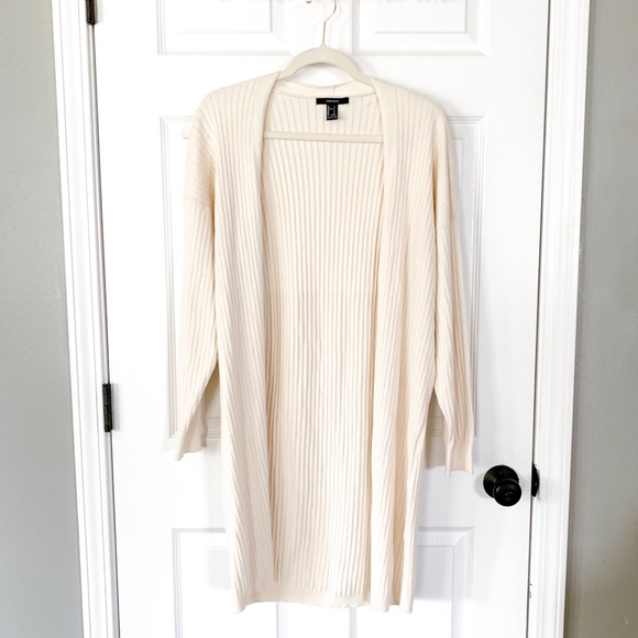 Forever 21 Sweaters - F21 Cream Long Sleeve Duster Cardigan